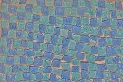 有趣的蓝色锦砖样式 库存照片