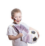 有足球和欧洲金钱的男孩 库存照片