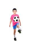 有足球的亚裔男孩 库存图片