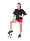 有足球的妇女 免版税库存图片