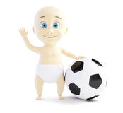 有足球的孩子 免版税库存照片