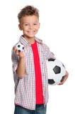 有足球的男孩 库存照片