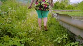 有跑在剧情的草的赤脚的一名妇女 妇女的腿的特写镜头在行动的 股票视频