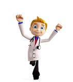 有跑的姿势的医生 免版税库存图片