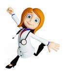 有跑的姿势的医生 库存图片