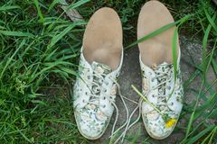 有跑鞋的皮革矫形皮鞋的内底在草 愈合 免版税库存图片