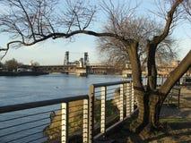 有路轨、长凳和桥梁的威拉米特河波特兰江边 库存照片