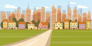 有路郊区街市的都市风景背景现代城市全景在摩天大楼地平线剪影动画片传染媒介 库存例证