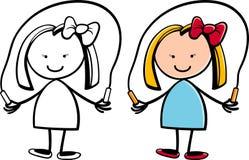 有跳绳的动画片逗人喜爱的女孩 免版税图库摄影
