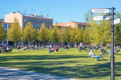 有躺椅的草坪在新的荷兰的海岛上在圣彼德堡 免版税库存图片