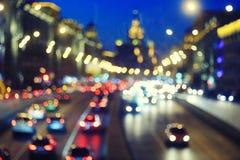 有车的城市道路 免版税图库摄影