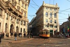 有轨电车在米兰,意大利 免版税库存照片