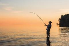有转动的渔夫 免版税库存图片