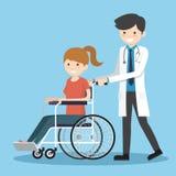 有轮椅患者的医生 免版税库存照片