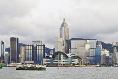 有轮渡的香港,维多利亚港口 免版税图库摄影