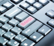 有轰隆按钮的键盘 库存照片