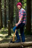 有轴的愉快的林务员 库存图片