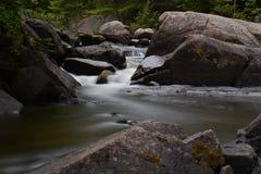 有轻轻地流动的水的一条美丽的河 免版税库存照片