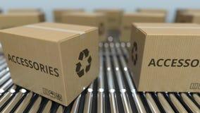有辅助部件的纸盒箱子发短信给在辊筒运输机的移动 ??loopable 3D?? 影视素材