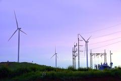 有输电线和能源厂的风轮机农场在beautif期间 库存照片