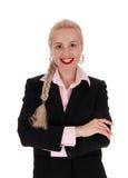 有辫子头发的微笑的女商人 免版税库存照片