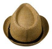 有边缘的帽子 背景帽子查出的白色 布朗帽子 库存照片
