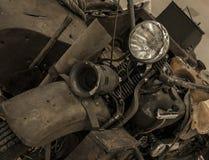 有边车的葡萄酒摩托车 免版税库存照片