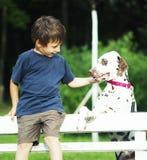 有达尔马希亚狗的小逗人喜爱的男孩 免版税库存图片