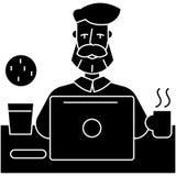 有运作在与笔记本象,传染媒介例证,在被隔绝的背景的黑标志的桌上的胡子的人 向量例证