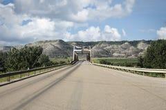 有运行通过大小山的老钢桥梁的高速公路 免版税库存图片