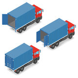 有运输货柜的红色卡车在船上 免版税库存照片
