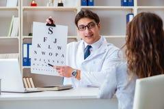 有进行眼睛测试检查的信件图的医生眼镜师 图库摄影