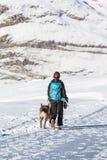 有远足在冬天的狗的妇女 免版税库存照片