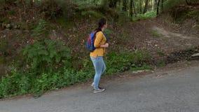 有远足在路的背包的徒步旅行者妇女在看的森林里  股票视频