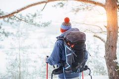 有远足旅行生活方式冒险概念活跃假期的背包的人旅客室外 美好的森林横向 图库摄影