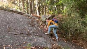 有远足的背包的年轻女人游人单独攀登一个岩石在森林里 股票录像