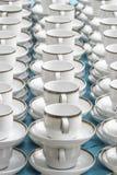 有连续被堆积的板材立场的咖啡杯 库存照片