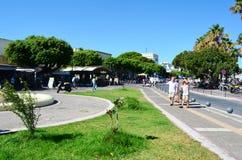有连续站立反对蓝天散步的热带树的街道 希腊kos 图库摄影