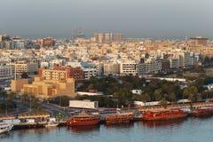 有迪拜,阿拉伯联合酋长国的Bur迪拜地区的The Creek 免版税库存照片