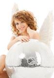 有迪斯科球的愉快的少年天使女孩 库存图片