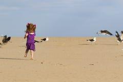 有追逐鸟的红色头发的小女孩 免版税库存图片