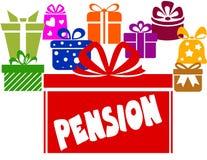 有退休金文本的礼物盒 免版税库存照片