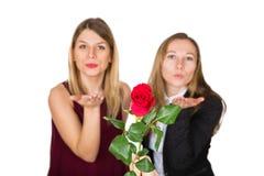 有送亲吻的红色玫瑰的美丽的妇女 免版税库存照片