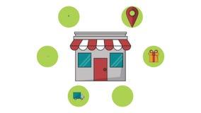 有送货业务HD动画的商店商店 库存例证