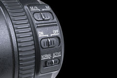 有透镜反射的摄象机镜头 SLR单镜头反光照相机的透镜 照相机数字式现代slr 背景空白详述的查出的照片的葡萄干 图库摄影