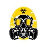 有透镜和敞篷的,标志化学制品危险防毒面具 皇族释放例证