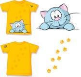有逗人喜爱猫偷看的孩子衬衣打印的 免版税库存图片
