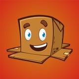 有逗人喜爱的微笑的包裹箱子 库存照片