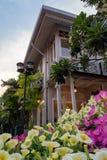 有逗人喜爱的花前景的古色古香的样式房子 库存图片