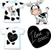 有逗人喜爱的黑白母牛的-传染媒介衬衣 免版税库存照片